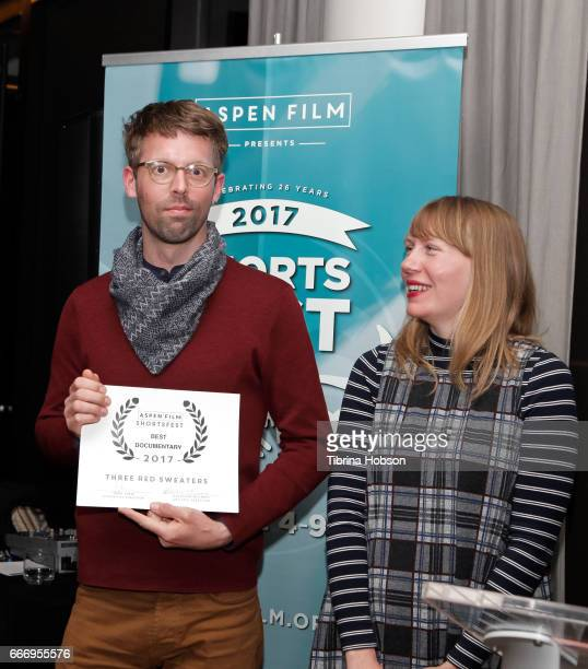 Florian Weghorn and Amy Nicholson accept the award for Best Documentary on behalf of Martha Gregory on April 9 2017 in Aspen Colorado