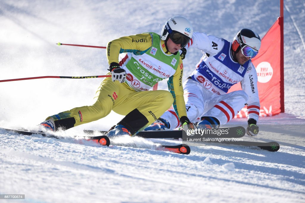 Florian Wilmsmann of Germany competes, Thomas Zangerl of Austria competes during the FIS Freestyle Ski World Cup, Men's and Women's Ski Cross on December 7, 2017 in Val Thorens, France.