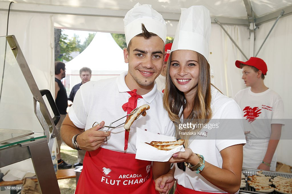 Florian Wuensche and Nicole Mieth attend the Charity Event Benefitting Flood Victims on July 20, 2013 in Grafenau, Germany.