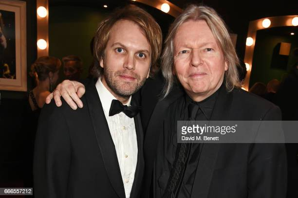 Florian Zeller and Christopher Hampton pose in the winners room at The Olivier Awards 2017 at Royal Albert Hall on April 9 2017 in London England