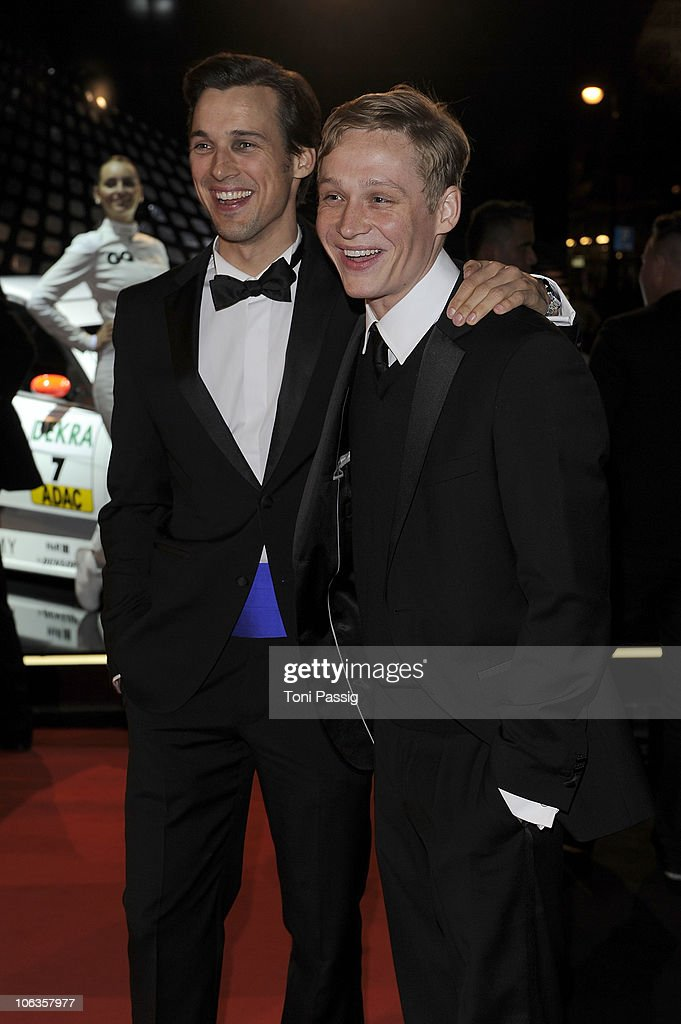 Florian-David Fitz and Matthias Schweighoefer attend the GQ Men Of The Year 2010 award ceremony at Komische Oper on October 29, 2010 in Berlin, Germany.