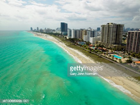 USA, Florida, aerial view of Miami Beach : Bildbanksbilder
