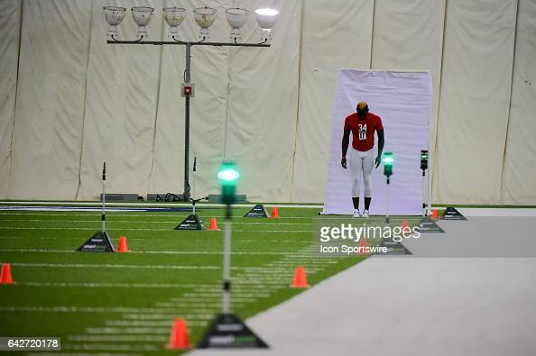 Florida Atlantic safety Dikingson Juste prepares to run the 40 yard dash during the 2017 NFL Houston Regional Combine on February 18 2017 at the...