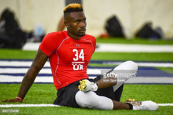 Florida Atlantic safety Dikingson Juste stretches during the 2017 NFL Houston Regional Combine on February 18 2017 at the Texans Training Facility...