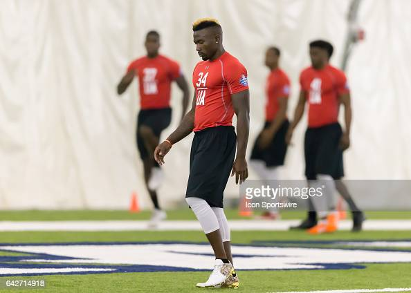 Florida Atlantic safety Dikingson Juste warms up during the 2017 Houston NFL Regional Combine on February 18 2017 at the Texans Training Facility in...