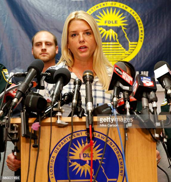 Florida Attorney General Pam Bondi speaks at a press conference about the shooting at Club Blu on July 25 2016 in Fort Myers Florida Two people were...