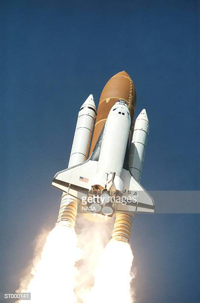 USA, Florida, Cape Kennedy, Space Shuttle liftoff, low angle view
