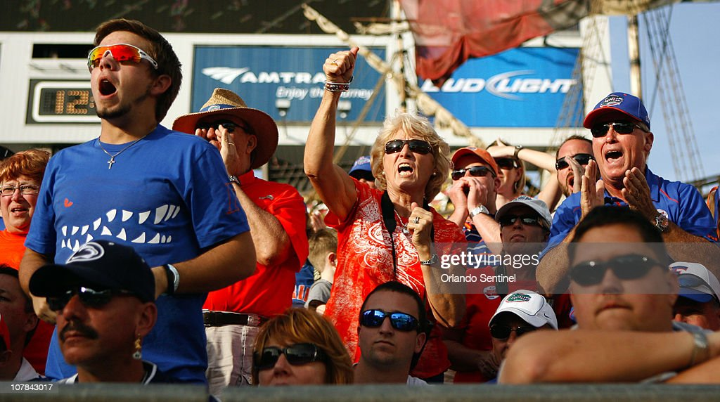 Florida fans cheer on the Gators during the Outback Bowl against Penn State in Tampa, Florida, Saturday, January 1, 2010. Florida defeated Penn State, 37-24.