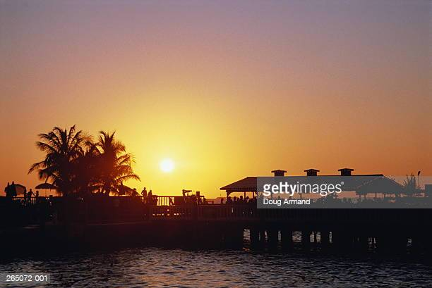 USA, Florida, Florida Keys, Key West, pier silhouetted at sunset