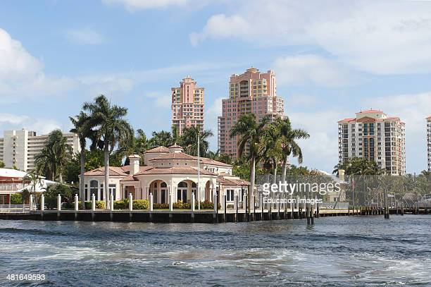 Florida Fort Lauderdale USA luxury housing mansions along the Intercostal Waterway and canals