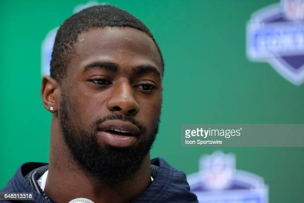 Florida free safety Marcus Maye answers questions from members of the media during the NFL Scouting Combine on March 5 2017 at Lucas Oil Stadium in...