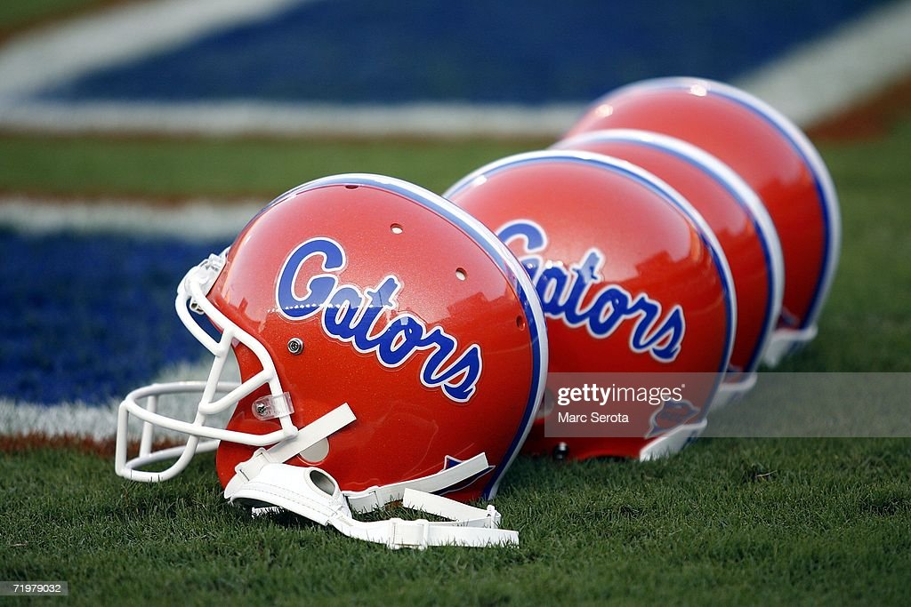 Florida Gator helmets sit on the field prior to a game against the Kentucky Wildcats on September 23 2006 at Ben Hill Griffin Stadium at Florida...