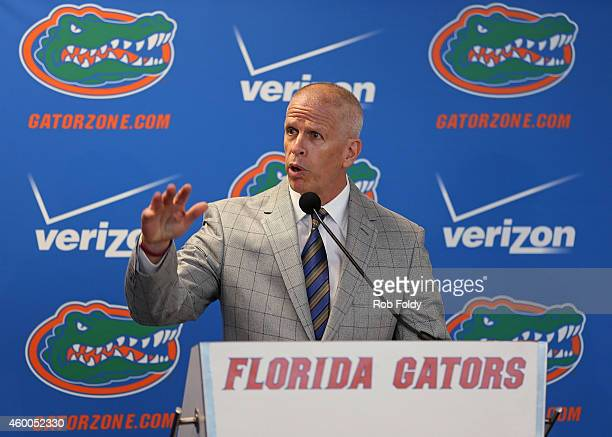 Florida Gators athletic director Jeremy Foley speaks on during an introductory press conference on December 6 2014 in Gainesville Florida Jim...