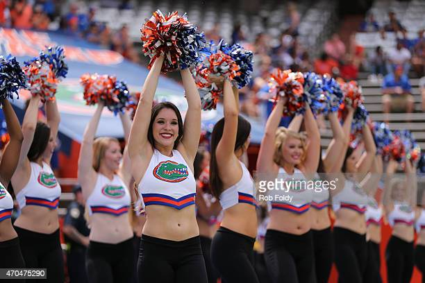 Florida Gators cheerleaders perform before the spring football game on April 11 2015 in Gainesville Florida