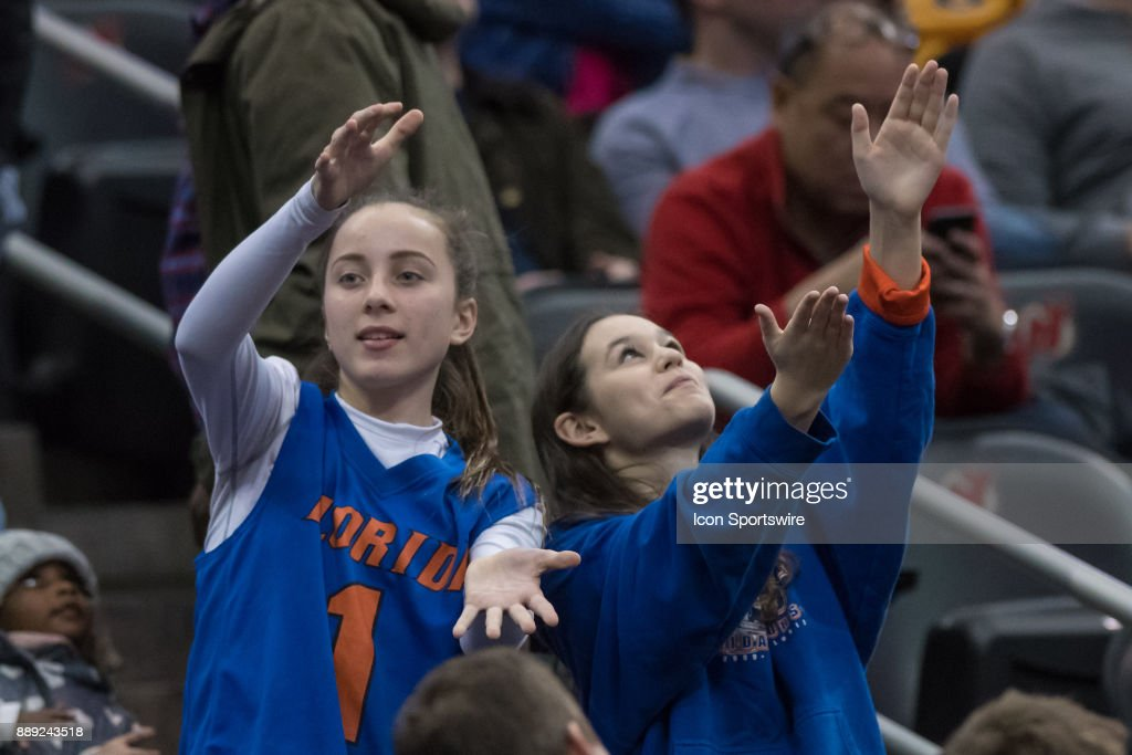 Florida Gators fans during the second half of the Never Forget Tribute Classic college basketball game between the Cincinnati Bearcats and the Florida Gators on December 9, 2017, at the Prudential Center in Newark, NJ.