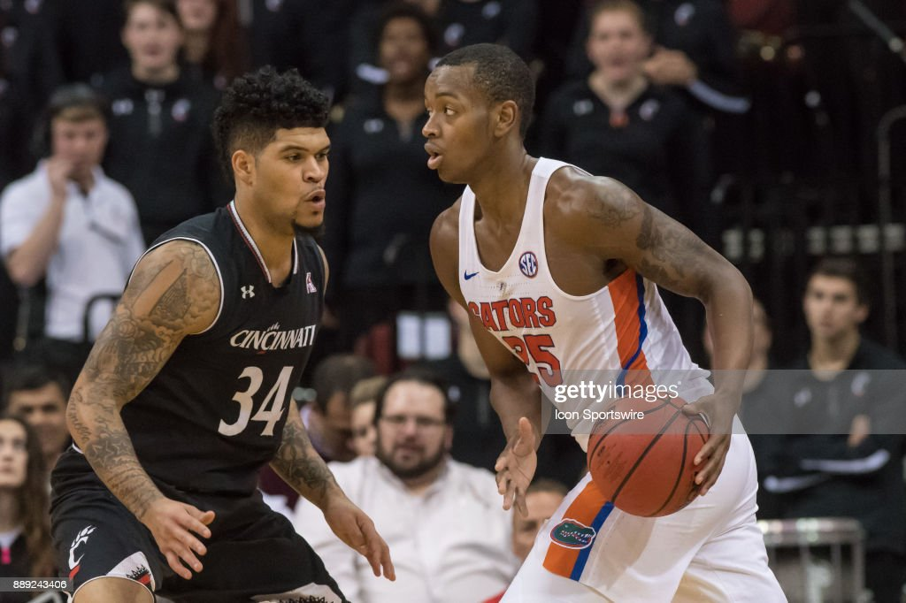 Florida Gators forward Keith Stone (25) during the first half of the Never Forget Tribute Classic college basketball game between the Cincinnati Bearcats and the Florida Gators on December 9, 2017, at the Prudential Center in Newark, NJ.