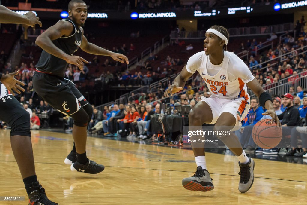 Florida Gators guard Deaundrae Ballard (24) during the second half of the Never Forget Tribute Classic college basketball game between the Cincinnati Bearcats and the Florida Gators on December 9, 2017, at the Prudential Center in Newark, NJ.