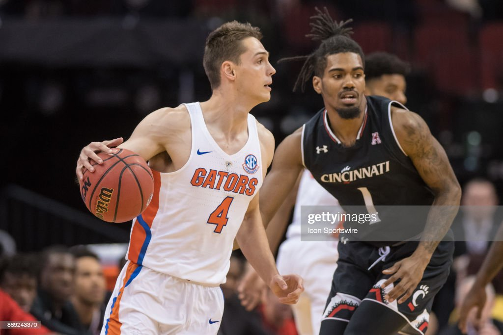 Florida Gators guard Egor Koulechov (4) during the first half of the Never Forget Tribute Classic college basketball game between the Cincinnati Bearcats and the Florida Gators on December 9, 2017, at the Prudential Center in Newark, NJ.