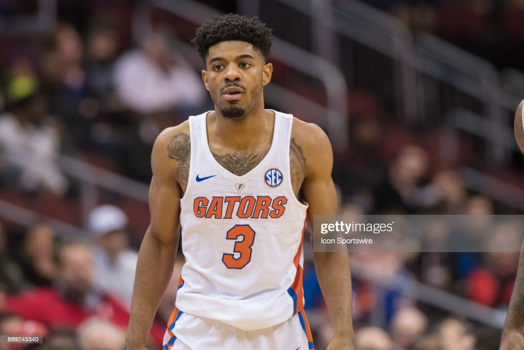 Florida Gators guard Jalen Hudson (3) during the first half of the Never Forget Tribute Classic college basketball game between the Cincinnati Bearcats and the Florida Gators on December 9, 2017, at the Prudential Center in Newark, NJ.
