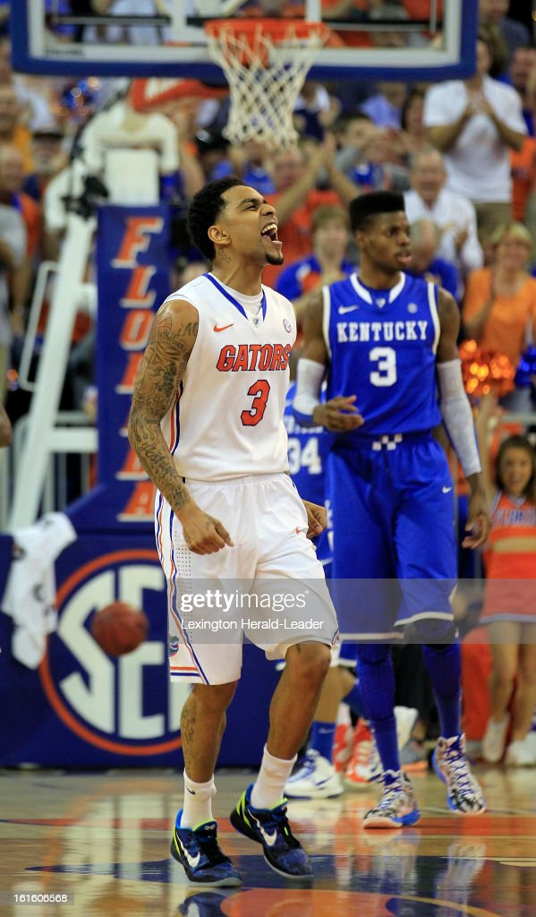 Florida Gators guard Mike Rosario (3) yells after hitting a 3-pointer against Kentucky in the first half at the O'Connell Center in Gainesville, Florida, Tuesday, February 12, 2013. Florida defeated UK
