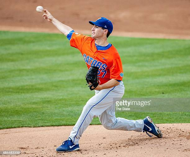 Florida Gators pitcher Aaron Rhodes delivers in the first inning against South Carolina in Columbia SC Saturday April 12 2014