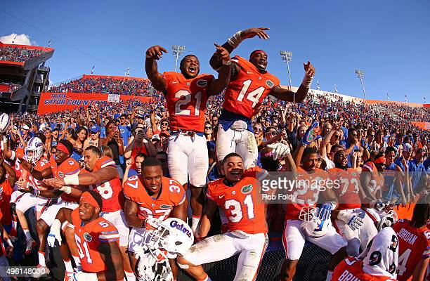 Florida Gators players celebrate after the game against the Vanderbilt Commodores at Ben Hill Griffin Stadium on November 7 2015 in Gainesville...