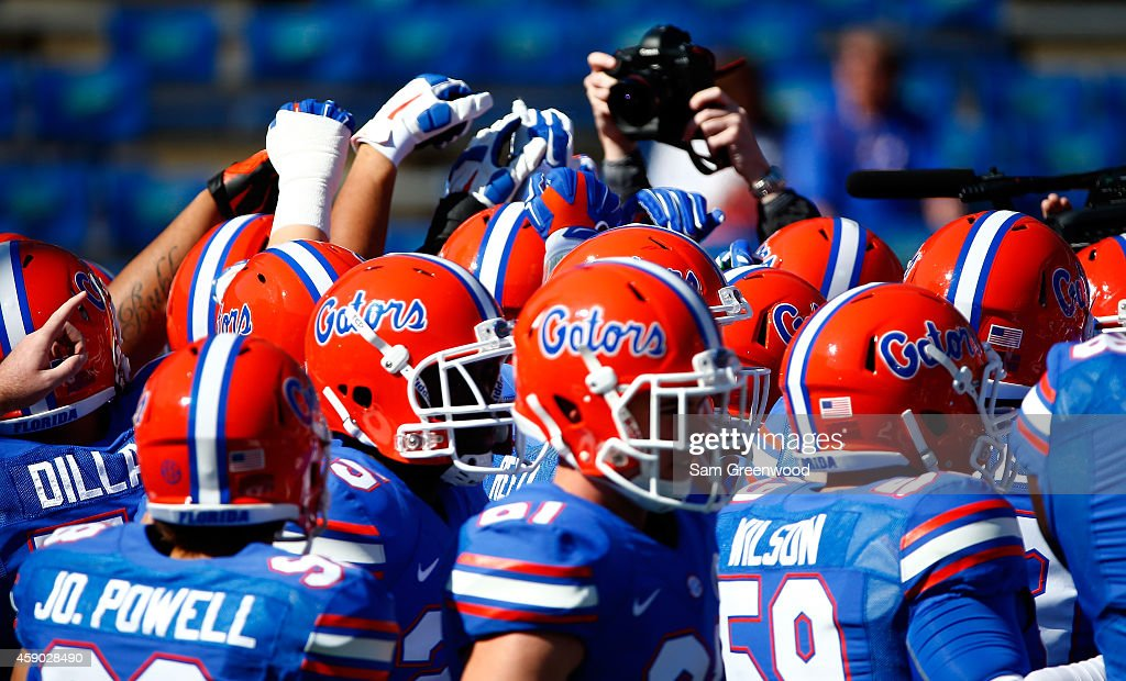 Florida Gators players warm up before the game against the South Carolina Gamecocks at Ben Hill Griffin Stadium on November 15 2014 in Gainesville...