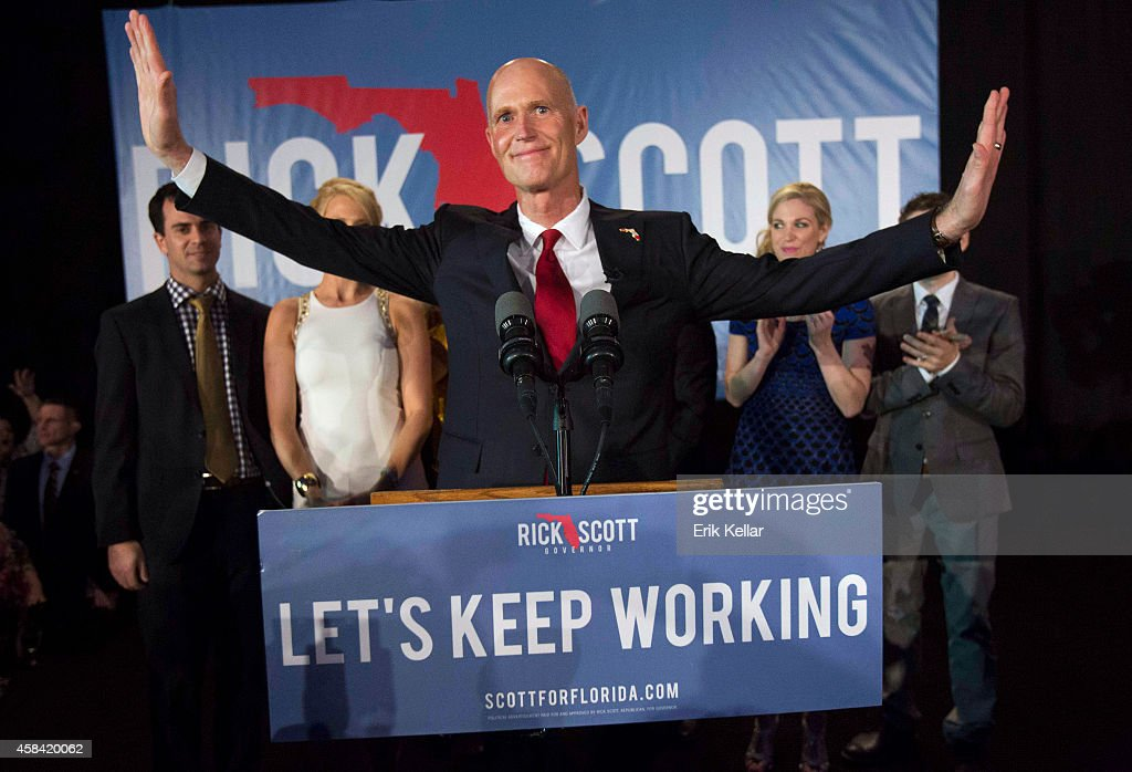 Florida Gov. <a gi-track='captionPersonalityLinkClicked' href=/galleries/search?phrase=Rick+Scott+-+Politiker&family=editorial&specificpeople=2370892 ng-click='$event.stopPropagation()'>Rick Scott</a> gives his victory speech November 4, 2014 in Bonita Springs, Florida. Scott won a tight race against opponent Charlie Crist former Florida Gov. and Democrat gubernatorial candidate.