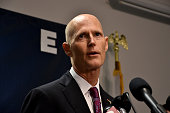 Florida Gov Rick Scott speaks to the media at a press conference in response to a deadly shooting at Club Blu in Fort Myers Florida on July 25 2016...