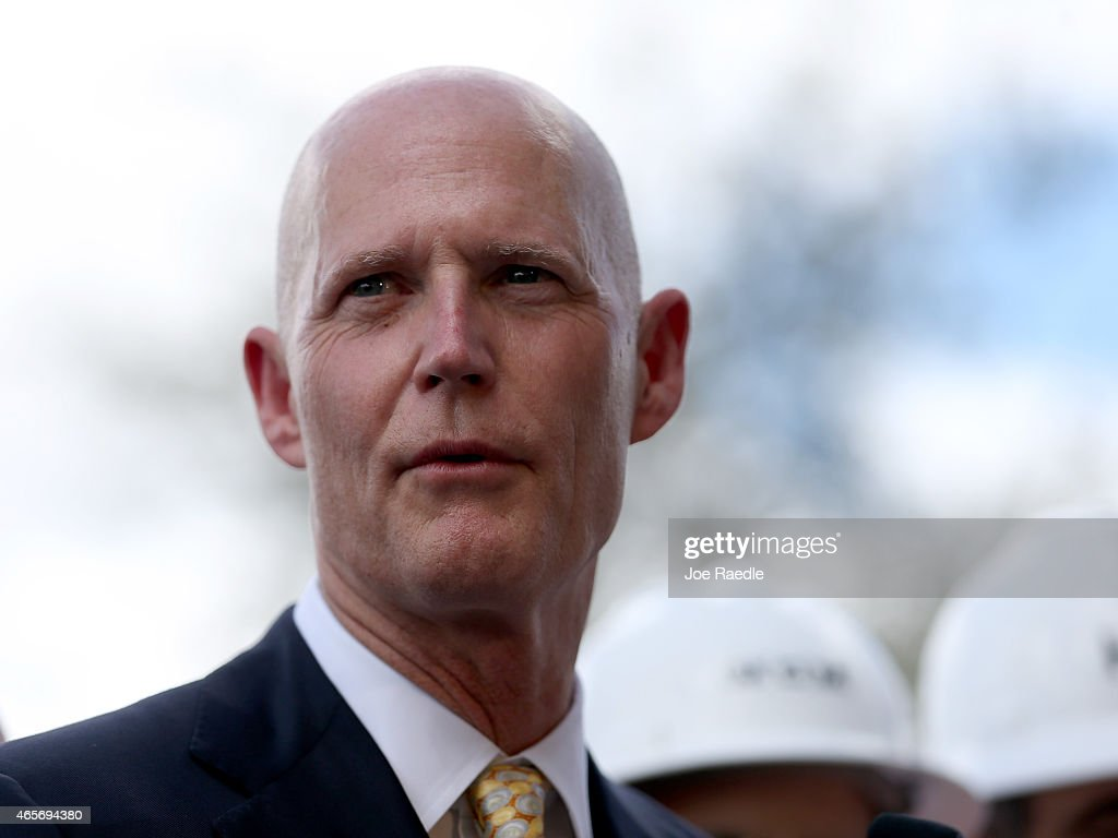 Florida Governor <a gi-track='captionPersonalityLinkClicked' href=/galleries/search?phrase=Rick+Scott+-+Pol%C3%ADtico&family=editorial&specificpeople=2370892 ng-click='$event.stopPropagation()'>Rick Scott</a> attends a road expansion event at the Casa Maiz restaurant as he fields questions from reporters about climate change on March 9, 2015 in Hialeah, Florida. Recent reports indicate that the Florida governor allegedly issued orders for certain state agencies to not to use the term 'climate change' or 'global warming' in any official communications, emails, or reports.
