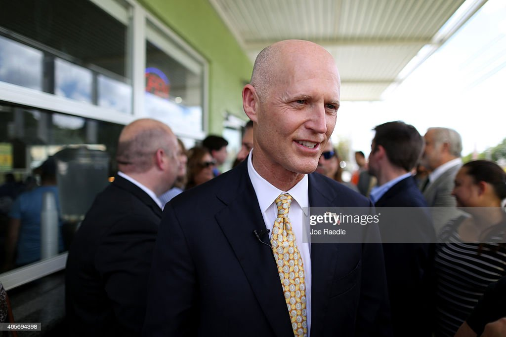 Florida Governor <a gi-track='captionPersonalityLinkClicked' href=/galleries/search?phrase=Rick+Scott+-+Pol%C3%ADtico&family=editorial&specificpeople=2370892 ng-click='$event.stopPropagation()'>Rick Scott</a> attends a road expansion event at the Casa Maiz restaurant where he fieldeds questions from reporters about climate change on March 9, 2015 in Hialeah, Florida. Recent reports indicate that the Florida governor allegedly issued orders for certain state agencies to not to use the term 'climate change' or 'global warming' in any official communications, emails, or reports.
