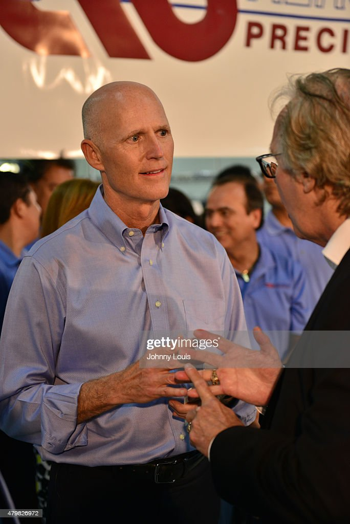 Florida Governor <a gi-track='captionPersonalityLinkClicked' href=/galleries/search?phrase=Rick+Scott+-+Politiek&family=editorial&specificpeople=2370892 ng-click='$event.stopPropagation()'>Rick Scott</a>, speaks during a news conference at Aerospace Precision after a tour of the facility to highlight job growth in Hollywood on Tuesday July 7, 2015 in Hollywood, Florida.