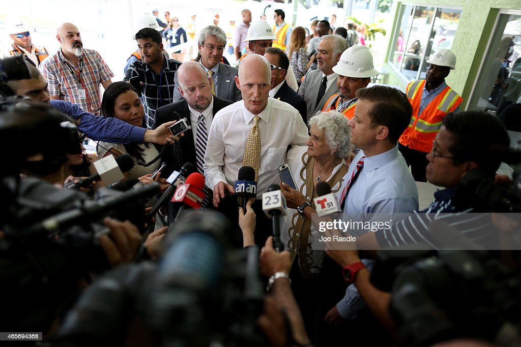 Florida Governor <a gi-track='captionPersonalityLinkClicked' href=/galleries/search?phrase=Rick+Scott+-+Pol%C3%ADtico&family=editorial&specificpeople=2370892 ng-click='$event.stopPropagation()'>Rick Scott</a> (C) speaks to the media as he attends a road expansion event at the Casa Maiz restaurant as he fields questions from reporters about climate change on March 9, 2015 in Hialeah, Florida. Recent reports indicate that the Florida governor allegedly issued orders for certain state agencies to not to use the term 'climate change' or 'global warming' in any official communications, emails, or reports.