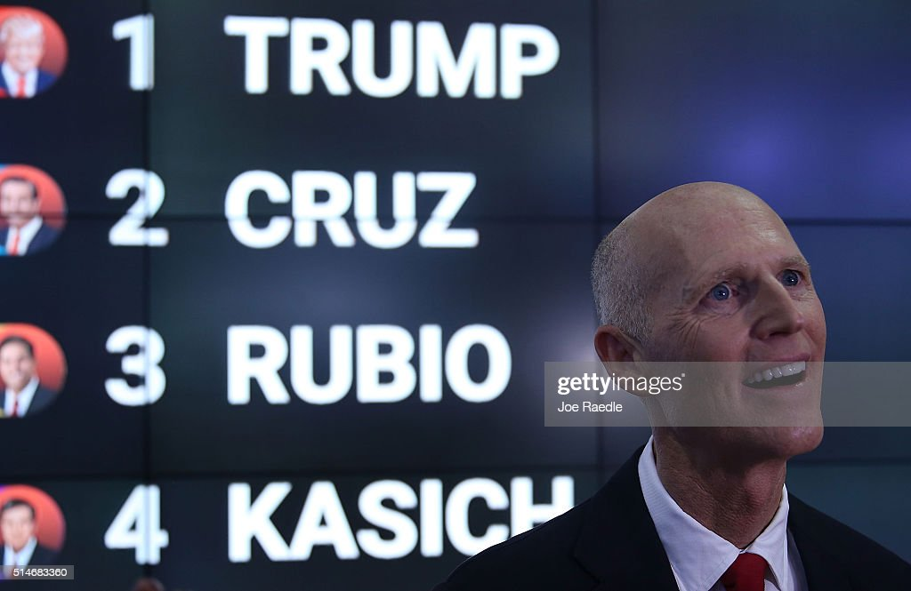 Florida Governor Rick Scott speaks with the media before the Republican presidential debate on the campus of the University of Miami on March 10, 2016 in Coral Gables, Florida. The Republican candidates continue to campaign before the March 15th Florida primary.