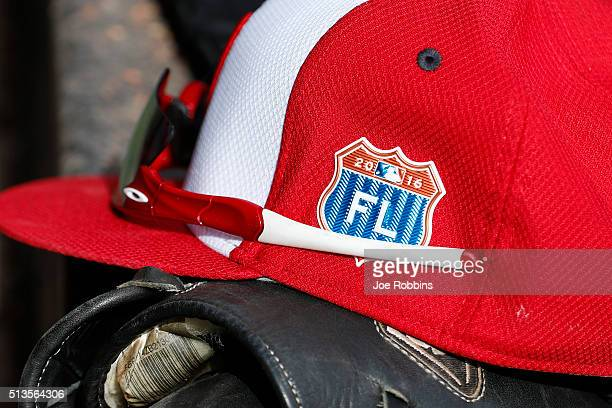 Florida Grapefruit League logo is seen on a Washington Nationals cap during a spring training game against the New York Mets at Space Coast Stadium...