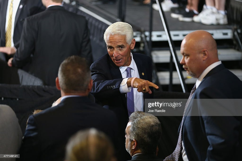 Florida Gubernatorial candidate <a gi-track='captionPersonalityLinkClicked' href=/galleries/search?phrase=Charlie+Crist&family=editorial&specificpeople=753543 ng-click='$event.stopPropagation()'>Charlie Crist</a> attends an event where U.S. President Barack Obama spoke at Coral Reef Senior High on March 7, 2014 in Miami, Florida. Obama announced a program that will allow students an easier way to complete the Free Application for Federal Student Aid.