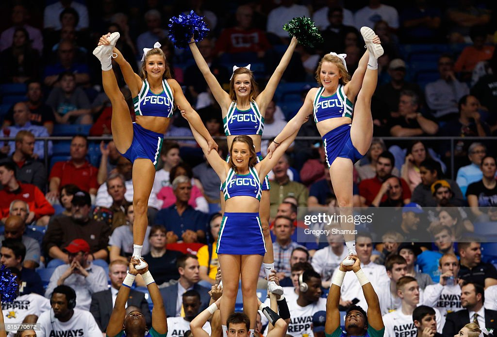 Florida Gulf Coast Eagles cheerleaders perform during the game between the Fairleigh Dickinson Knights and the Florida Gulf Coast Eagles in the first...