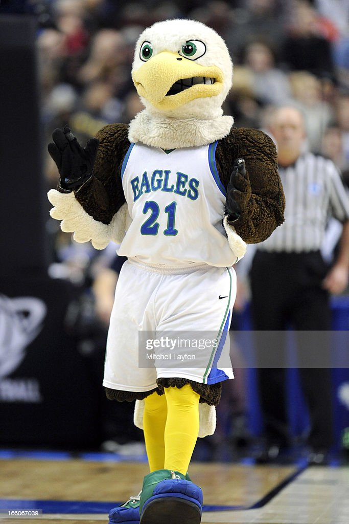 Florida Gulf Coast Eagles mascot on the floor during the second round of the 2013 NCAA Men's Basketball Tournament game against the Georgetown Hoyas on March 22, 2013 at Wells Fargo Center in Philadelphia, Pennsylvania. The Eagles won 78-68.