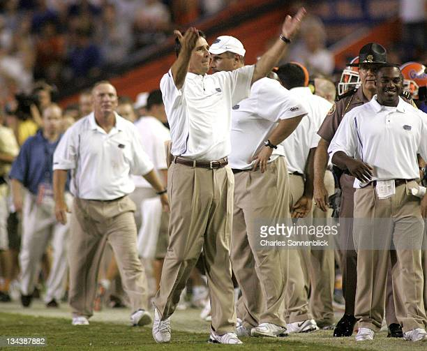 Florida head coach Urban Meyer celebrates with the victory over Tennessee September 17 2005 at Ben Hill Griffin Stadium in Gainesville Florida...