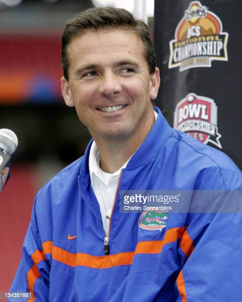 Florida head coach Urban Meyer is all smiles during media day at the at the University of Phoenix Stadium on January 5 2007 in Glendale Arizona