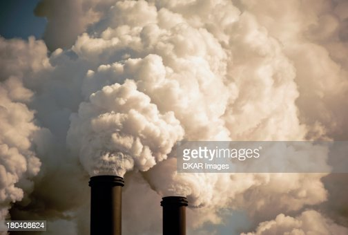 USA, Florida, Industrial smokestacks