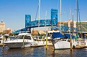 USA, Florida, Jacksonville, boats in harbor near Main Street Bridge