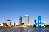 USA, Florida, Jacksonville, city skyline and Main Street Bridge