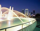 USA, Florida, Jacksonville, Friendship Fountain and cityscape, dusk