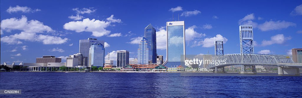 USA, Florida, Jacksonville, St Johns River and skyline : Stock Photo