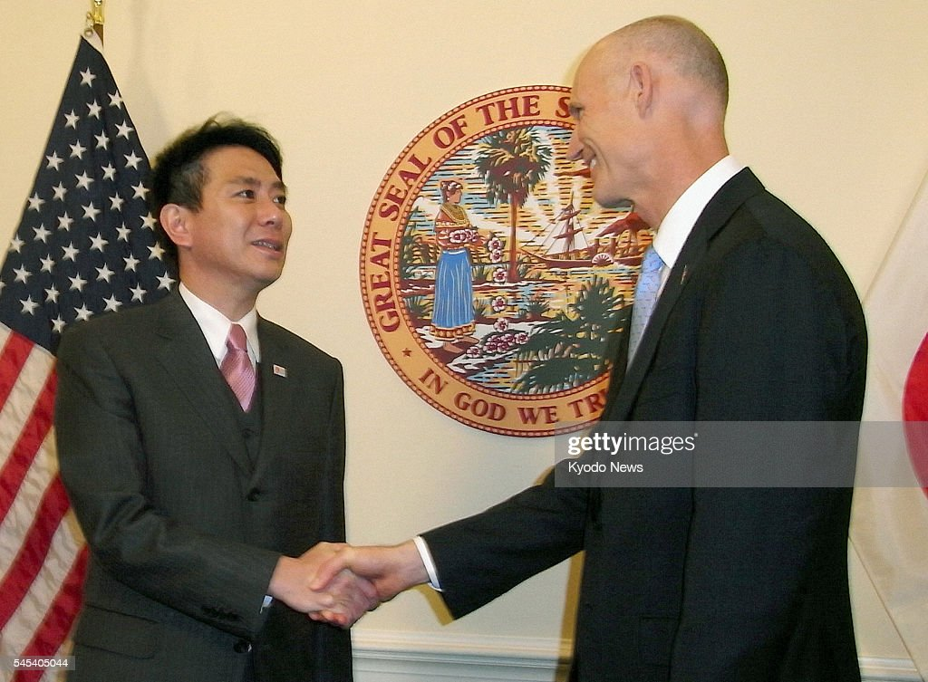 TALLAHASSEE Florida Japanese Foreign Minister Seiji Maehara and Florida Gov Rick Scott shake hands as they meet in Tallahassee Florida on Jan 8 2011...