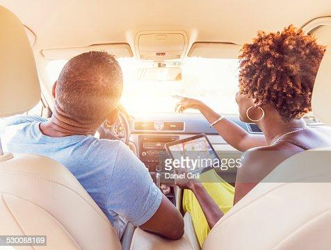 USA, Florida, Jupiter, Mature couple in car