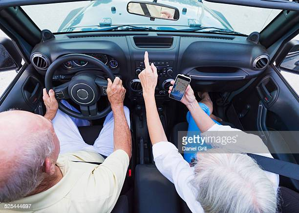 USA, Florida, Jupiter, Senior couple in convertible car