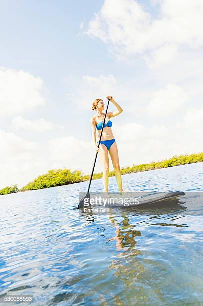 USA, Florida, Jupiter, Woman on paddle board