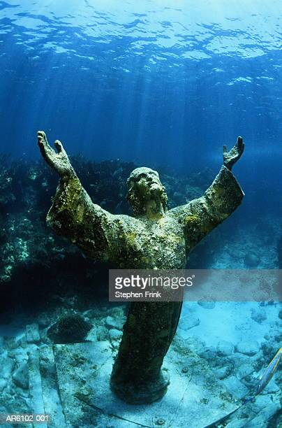USA, Florida, Key Largo, Christ of the Abyss statue, underwater view